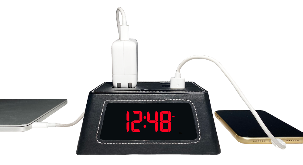 New! Power Hub Ultra with Alarm Clock - Charge up to 6 devices using 1 wall outlet - Great Useful Stuff - Black