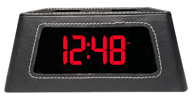 Load image into Gallery viewer, New! Power Hub Ultra with Alarm Clock - Charge up to 6 devices using 1 wall outlet - Great Useful Stuff - Black Leatherette