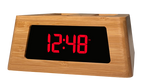 New! Power Hub Ultra with Alarm Clock - Charge up to 6 devices using 1 wall outlet - Great Useful Stuff - Bamboo