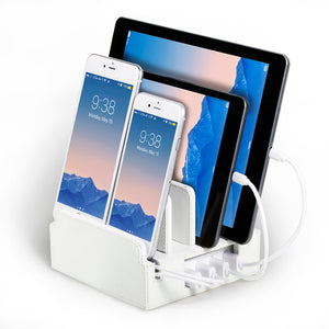 white gloss charging station holds tablets phones upright while charging them includes smart power unit in base with rubber bumpers on dividers