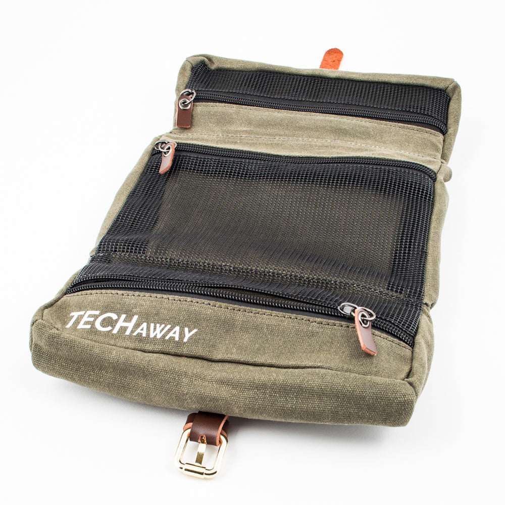 Organizer for laptop adapter, chargers, cords, and more secure zippers and visible mesh windows