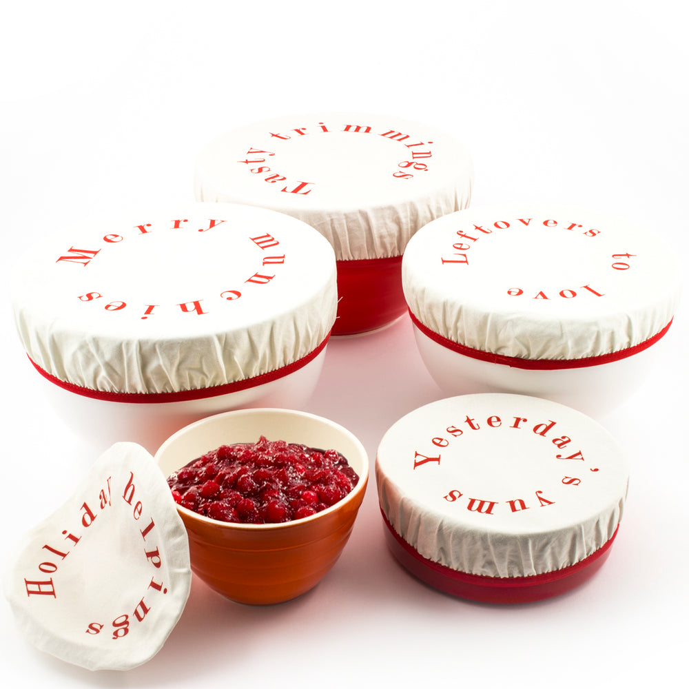 Tasty Trimmings Fabric Holiday Bowl Covers (Set of 5) - Great Useful Stuff