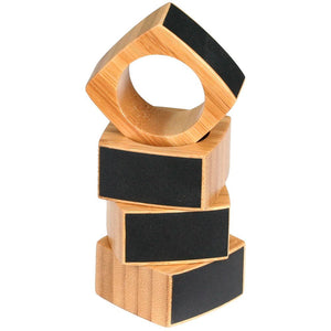 Bamboo Napkin Rings with Embossing & Chalkboard Labels (Set of 4) - Great Useful Stuff