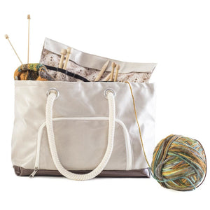 Knitting Tote with Needle Sleeve - Great Useful Stuff