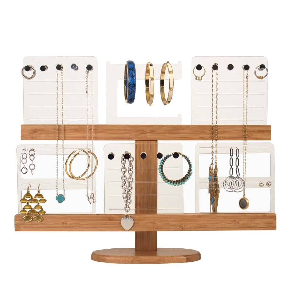 Deluxe Bamboo & Acrylic Jewelry Organizer and Stand
