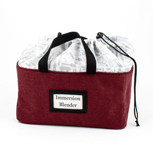 sturdy rectangular bag with front label and two handles drawstring closure