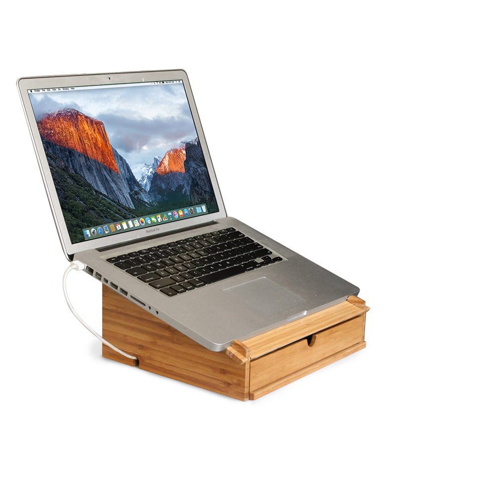 Bamboo Laptop Stand and Organizer with Dry Erase Board - Great Useful Stuff