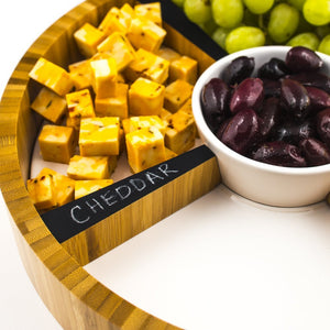 appetizer serving tray for cheese, grapes, chalkboard labels magnets