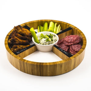 hors d'oeuvres tray with 5 sections for sauce and ecrudites