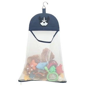 TIdy bathroom Bath toy organizer bag hanging navy white