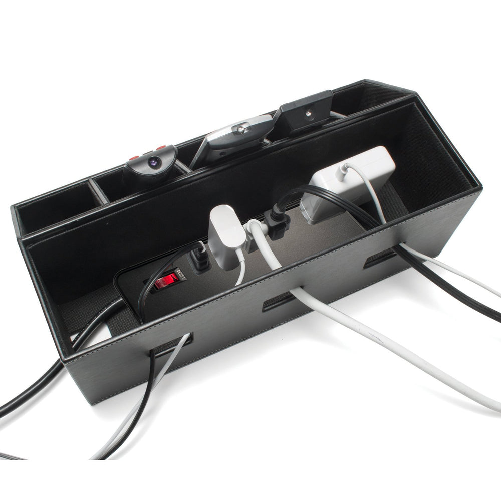 Remote Control and Cord Hideaway Station - Black Leatherette - Great Useful Stuff