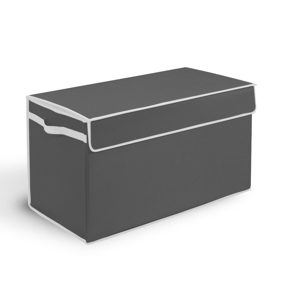 Large Toy Box with Flip-Top Lid - Gray