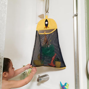Bath toy organizer bag hanging navy yellow
