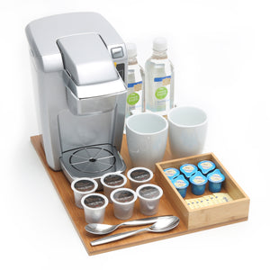 Load image into Gallery viewer, Beverage Organizer Tray - Bamboo - Great Useful Stuff