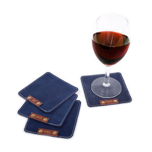 Split Leather Suede Coasters - set of 4