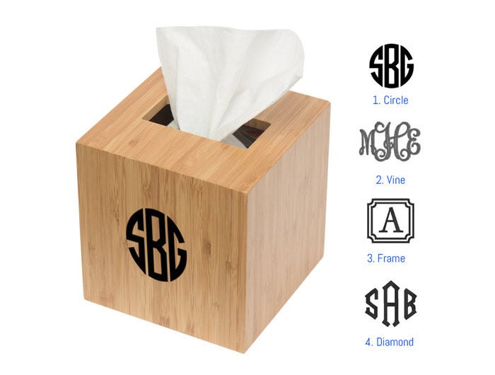 Boutique Tissue Cover - Bamboo - Personalize - Great Useful Stuff