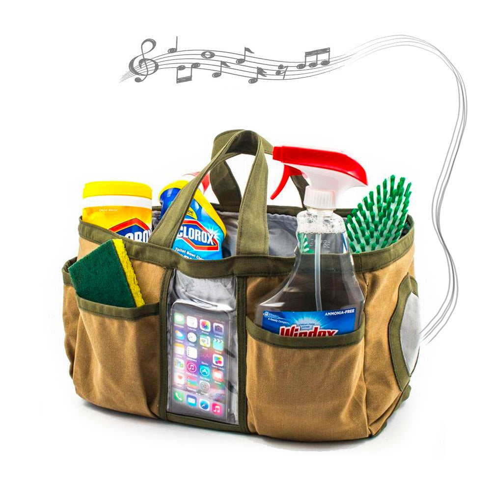 Cleaning Tote with Built-In Bluetooth Speaker