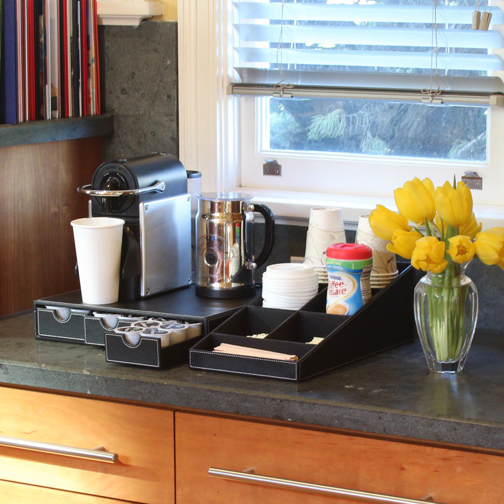 coffee and tea serving station organizer for breakfast nook
