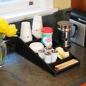 coffee and tea serving station organizer in faux leather black breakfast nook
