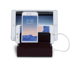 cherry gloss bamboo compact charging station holds 4 mobile devices upright and chargers them with built-in smart power unit with personalized