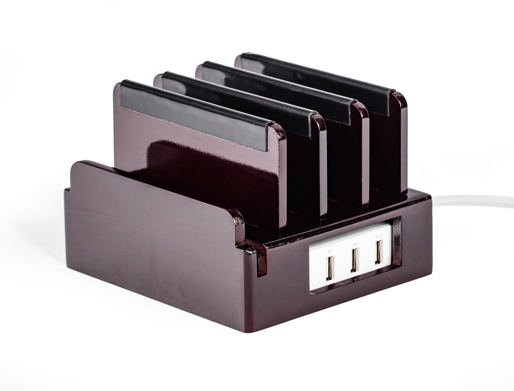 Cherry charging station holds tablets phones upright while charging them includes smart power unit in base with rubber bumpers on dividers