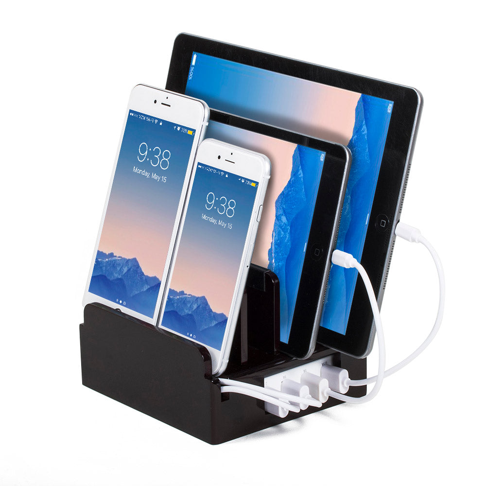 shiny cherry compact charging station holds 4 mobile devices upright and chargers them with built-in smart power unit with custom monogrammed