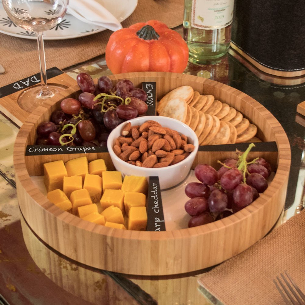 Ceramic and bamboo serving tray for parties and entertaining
