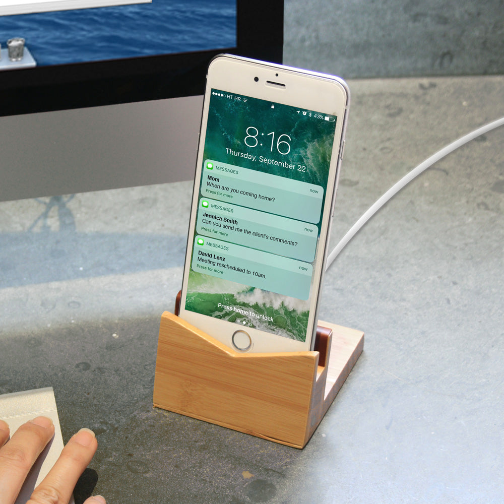 Load image into Gallery viewer, Bamboo Phone Dock and Stand - Great Useful Stuff