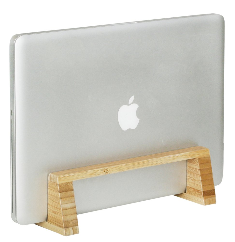 bamboo stand holds laptop upright with optional foam pads to organize your desk