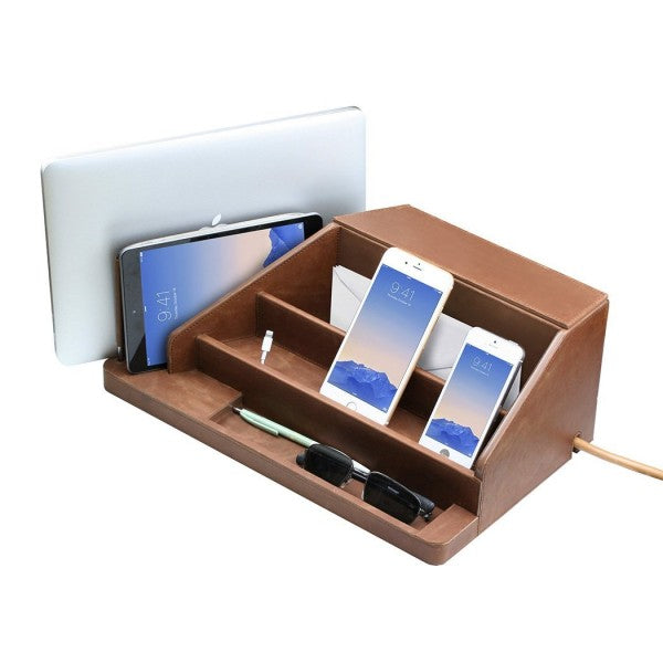 large desktop organizer for laptop tablet phones smart watches envelopes and a compartment in back for power strip in genuine leather