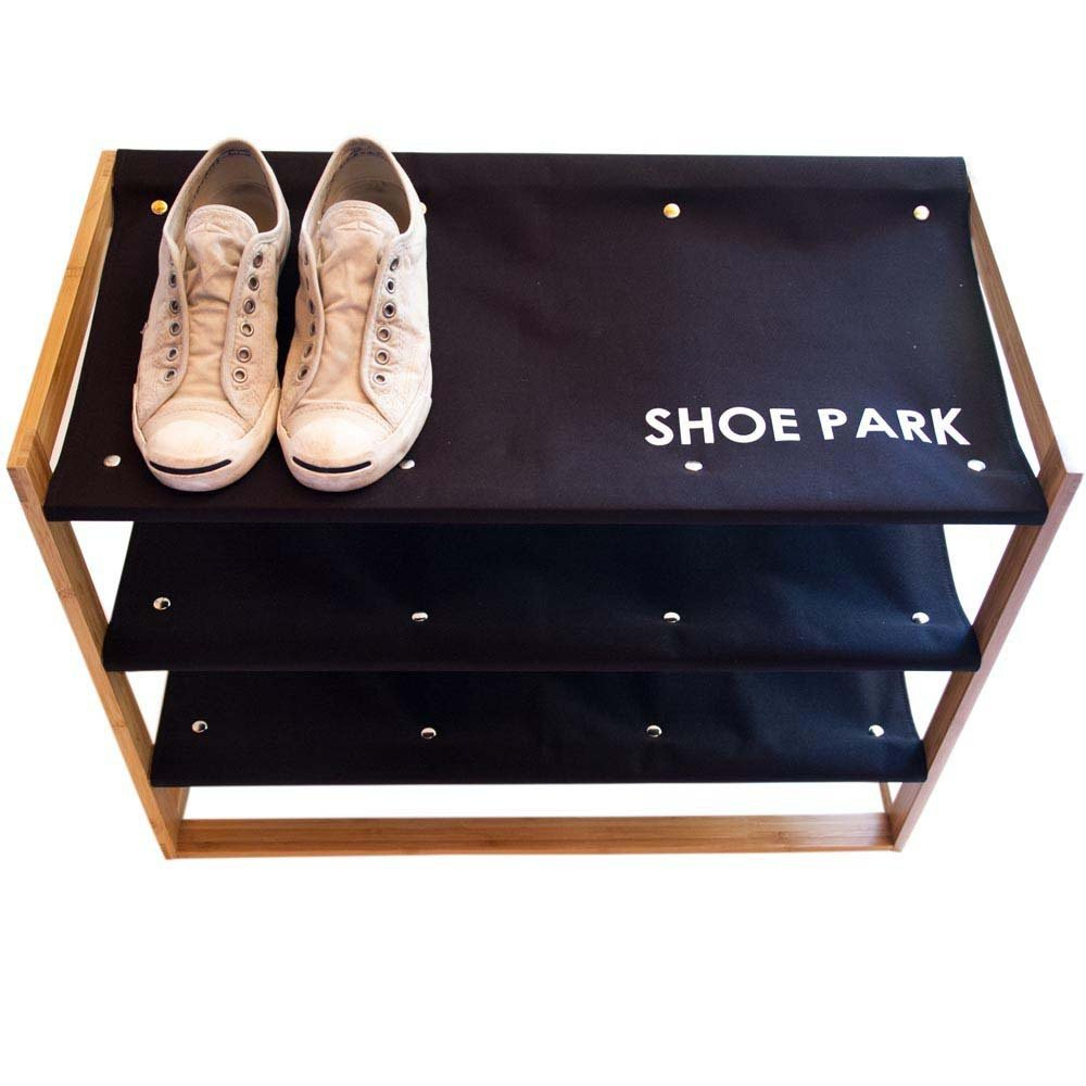 Shoe Park - Bamboo & Canvas Shoe Rack - Great Useful Stuff