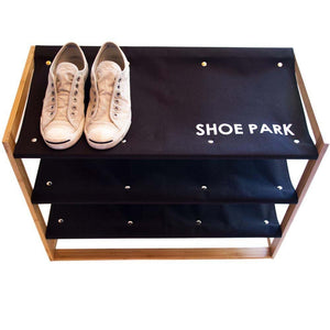 Load image into Gallery viewer, Shoe Park - Bamboo & Canvas Shoe Rack - Great Useful Stuff