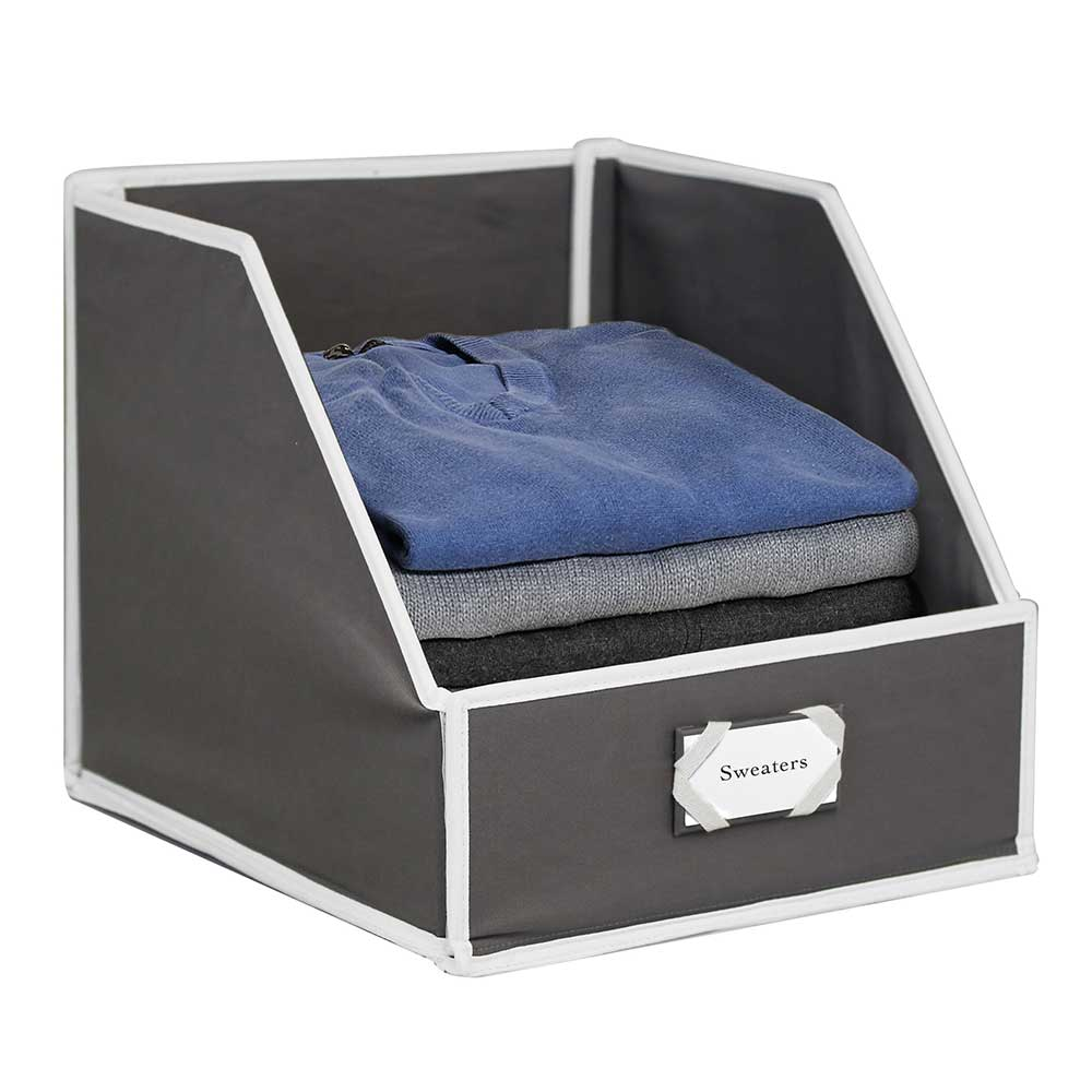 Shelf Storage Bins - Gray/White