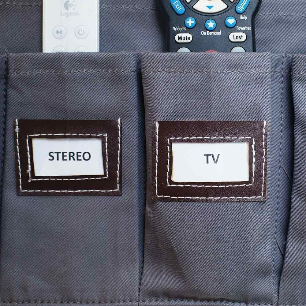 tv label holder faux leather brown top stitching cotton twill organizer holder designed in USA solutions for life uncommon goods costco lovely home