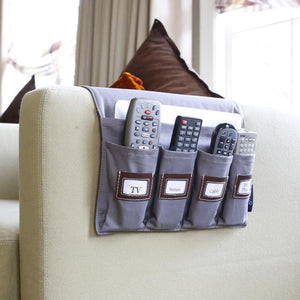 couch arm holder for tv remote lifehacker gray twill gift for men dads grandpa organizer clean up living room media center home hostess papa