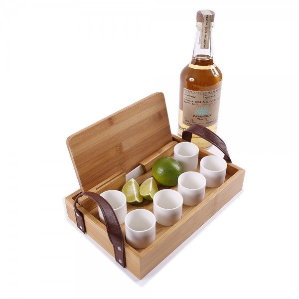 Eco-Friendly Bamboo Tequila Tasting Set with Cutting Board & Ceramic Knife