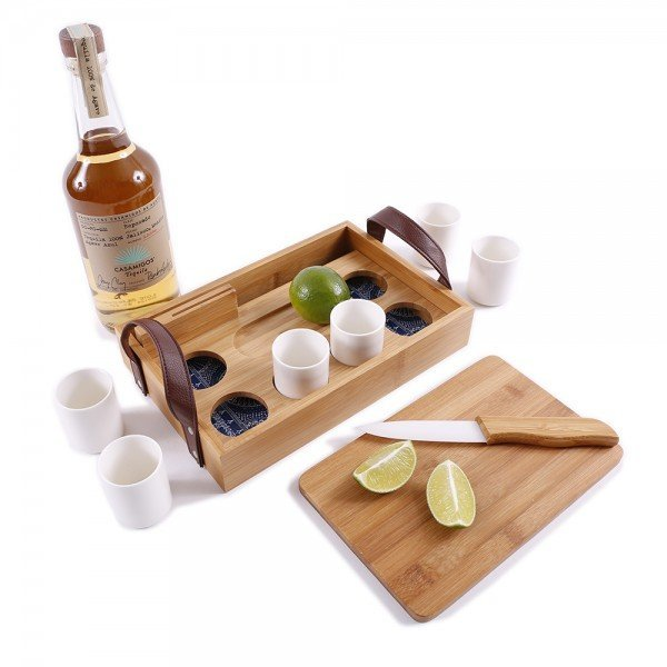 Bamboo Tequila Tasting Set with Cutting Board & Ceramic Knife - Personalized - Great Useful Stuff