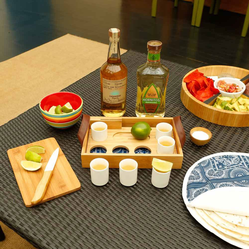 ceramic shot glasses with bamboo tray tequila sake drink