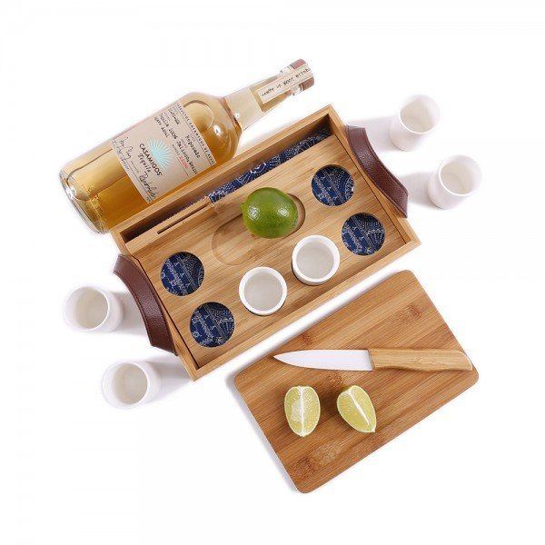 tequila serving set bamboo leather handles ceramic shot glasses cutting board and knife