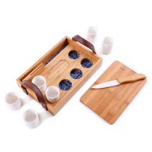 Bamboo Tequila Tasting Set with Cutting Board & Ceramic Knife - Great Useful Stuff