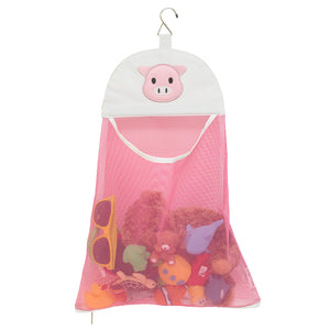 Mesh bath toy bag organizer pink pig