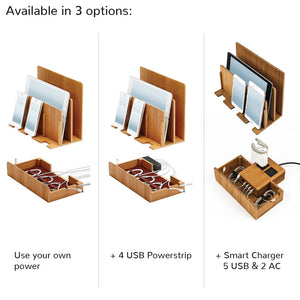 bamboo organizer holds laptop tablet phones upright while charging them and organizing cords underneath three options to have power unit included or not.