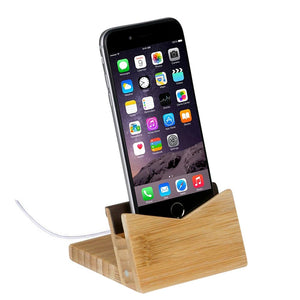 bamboo phone dock for iphone and cord holder