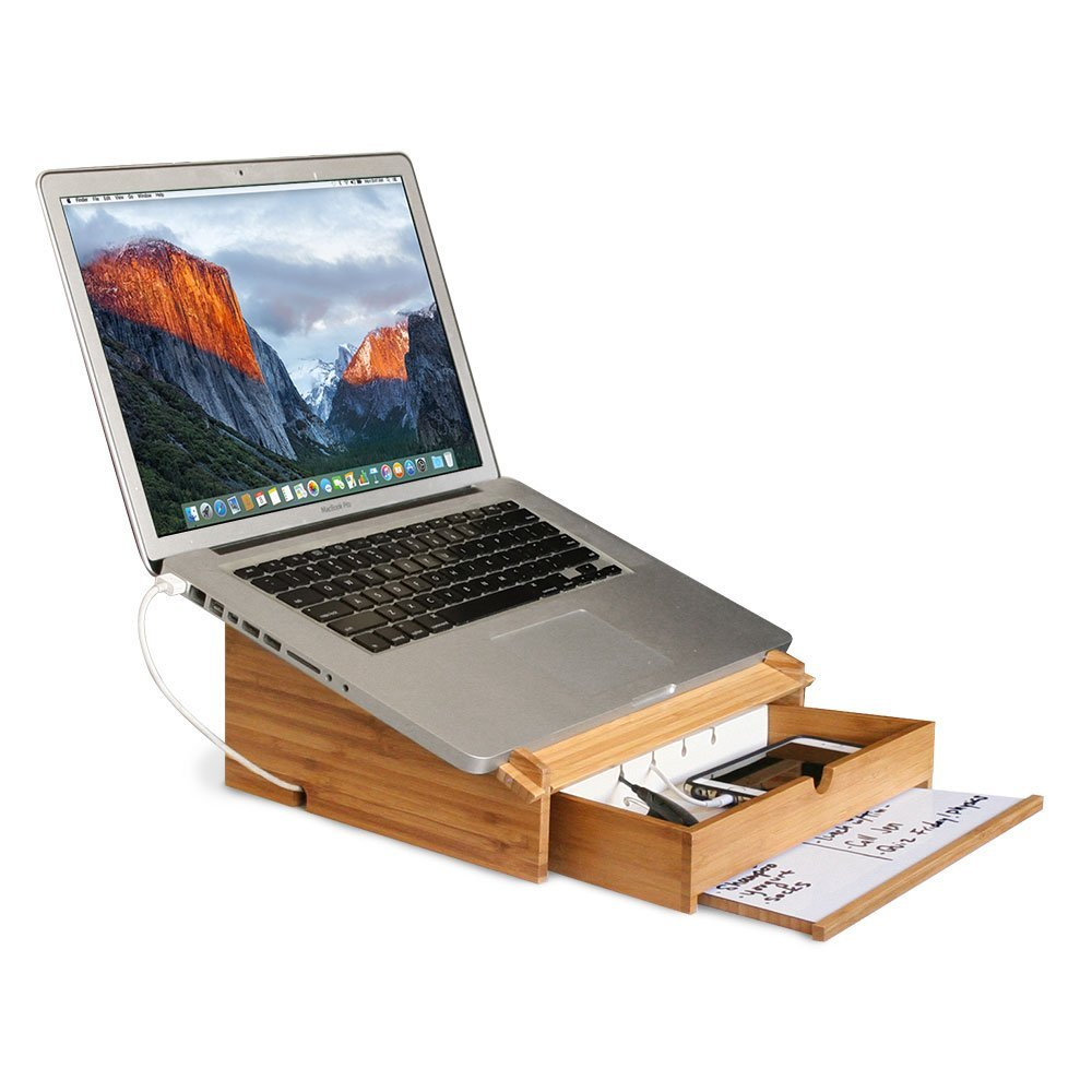 Laptop riser with storage charging drawer and dry erase board for note taking bamboo