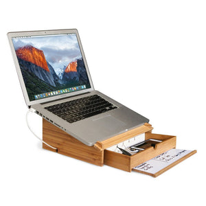 Bamboo Laptop Stand and Organizer with Dry Erase Board