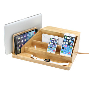 large desktop organizer for laptop tablet phones smart watches envelopes and a compartment in back for power strip in bamboo