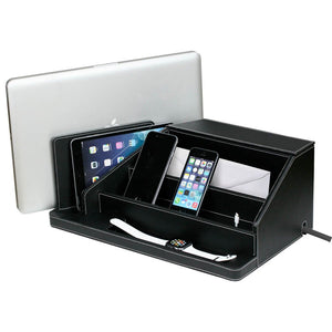 large desktop organizer for laptop tablet phones smart watches envelopes and a compartment in back for power strip in black leather