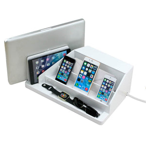 large desktop organizer for laptop tablet phones smart watches envelopes and a compartment in back for power strip in white gloss