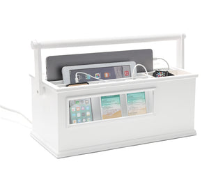 Portable Charging Center for Tech Gear- (White)