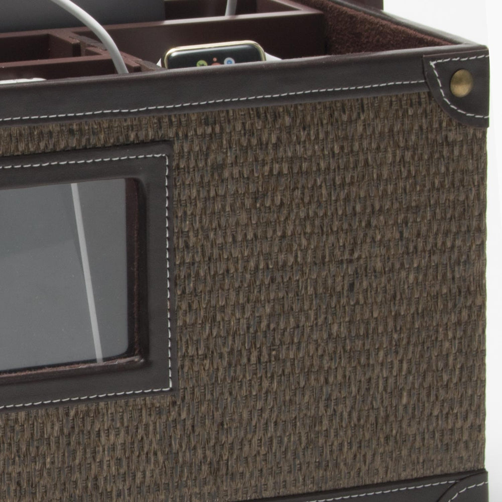 Portable Charging Center for Tech Gear- (Rattan)